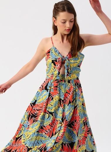 Quzu Quzu Sırt Detaylı Desenli Uzun Elbise Oranj
